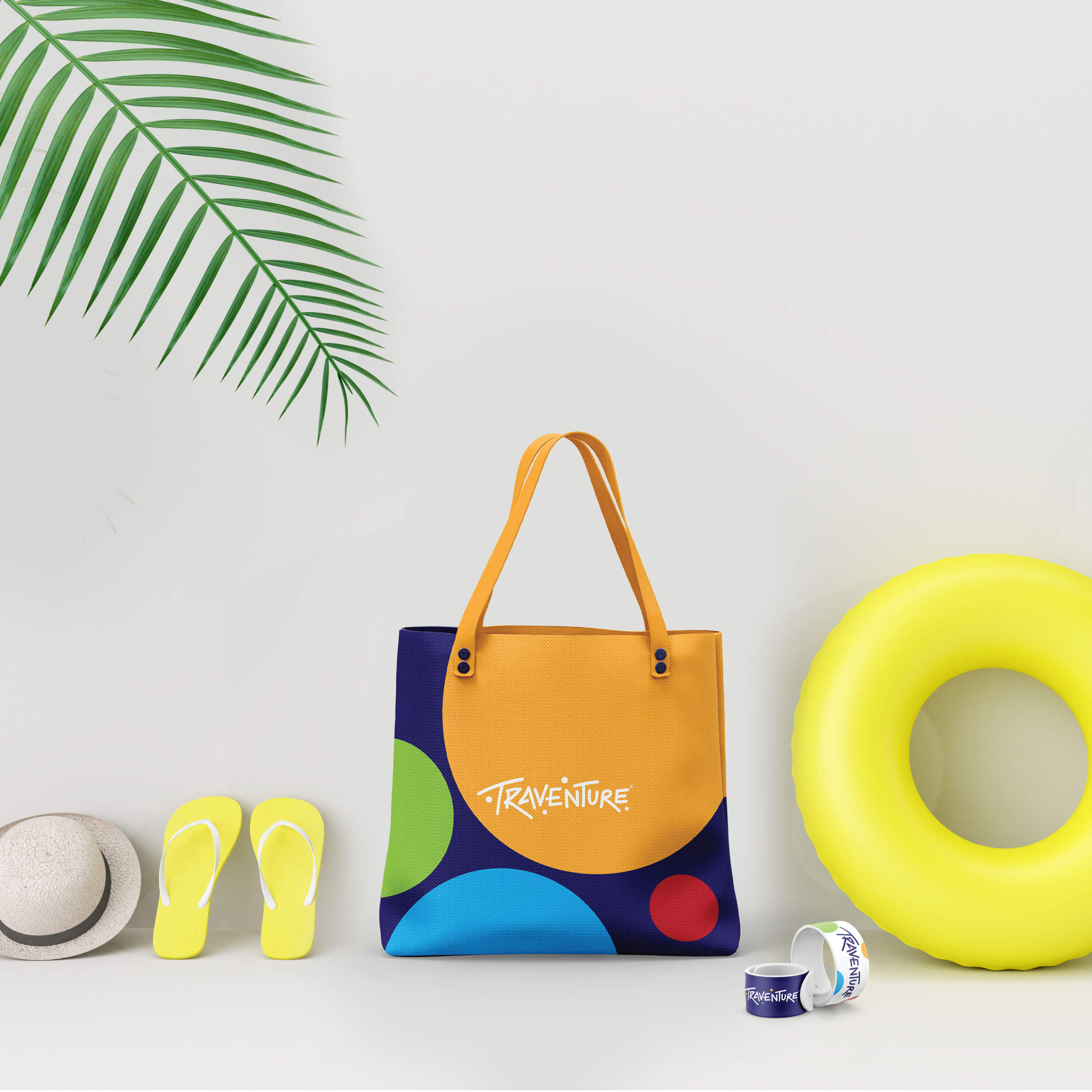 White,Suitcase,With,Beach,Accessories,And,Tropical,Palm,Leaves,On